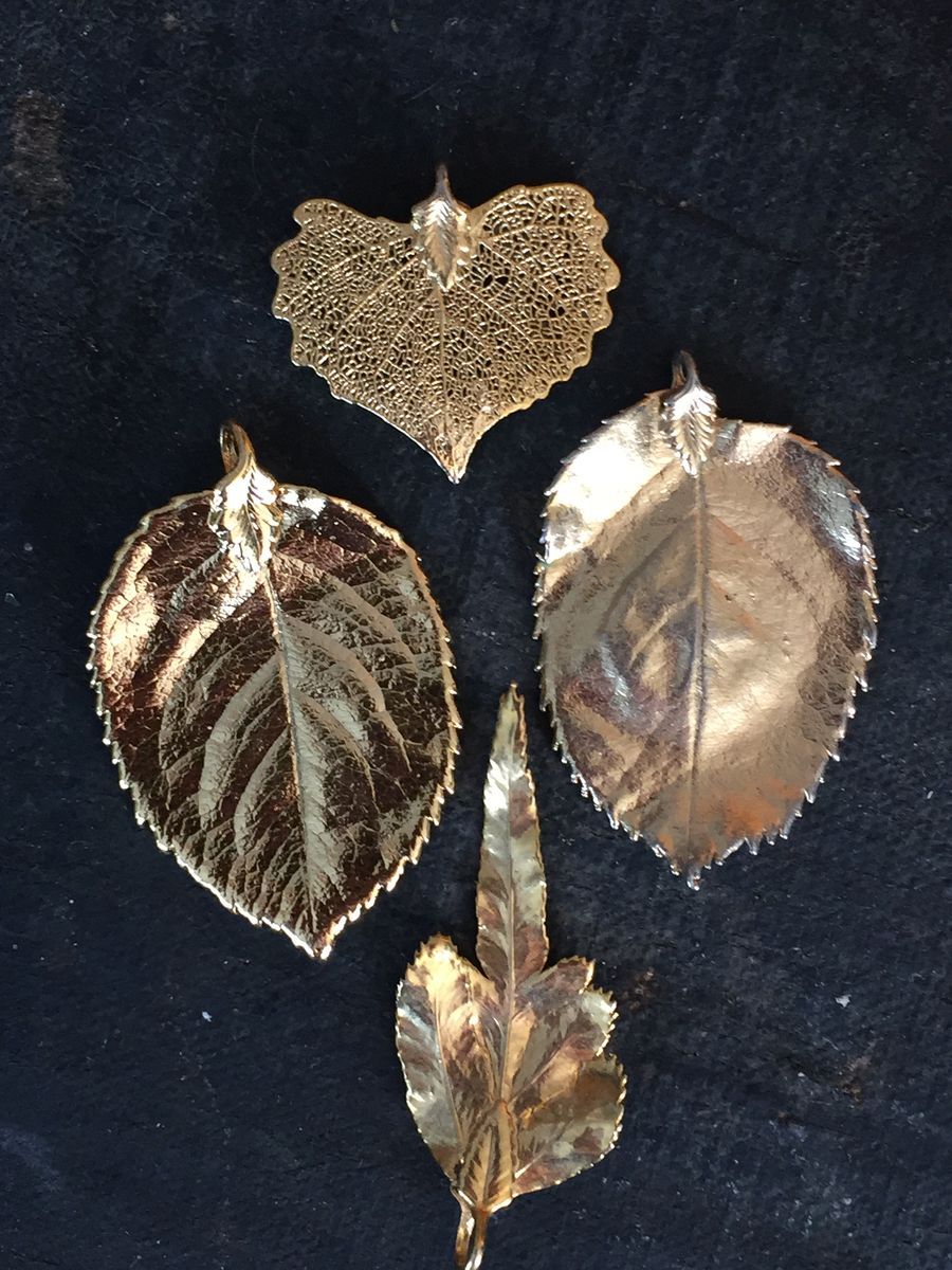 Gold Plated Leaf Pendants Set of Four - product image