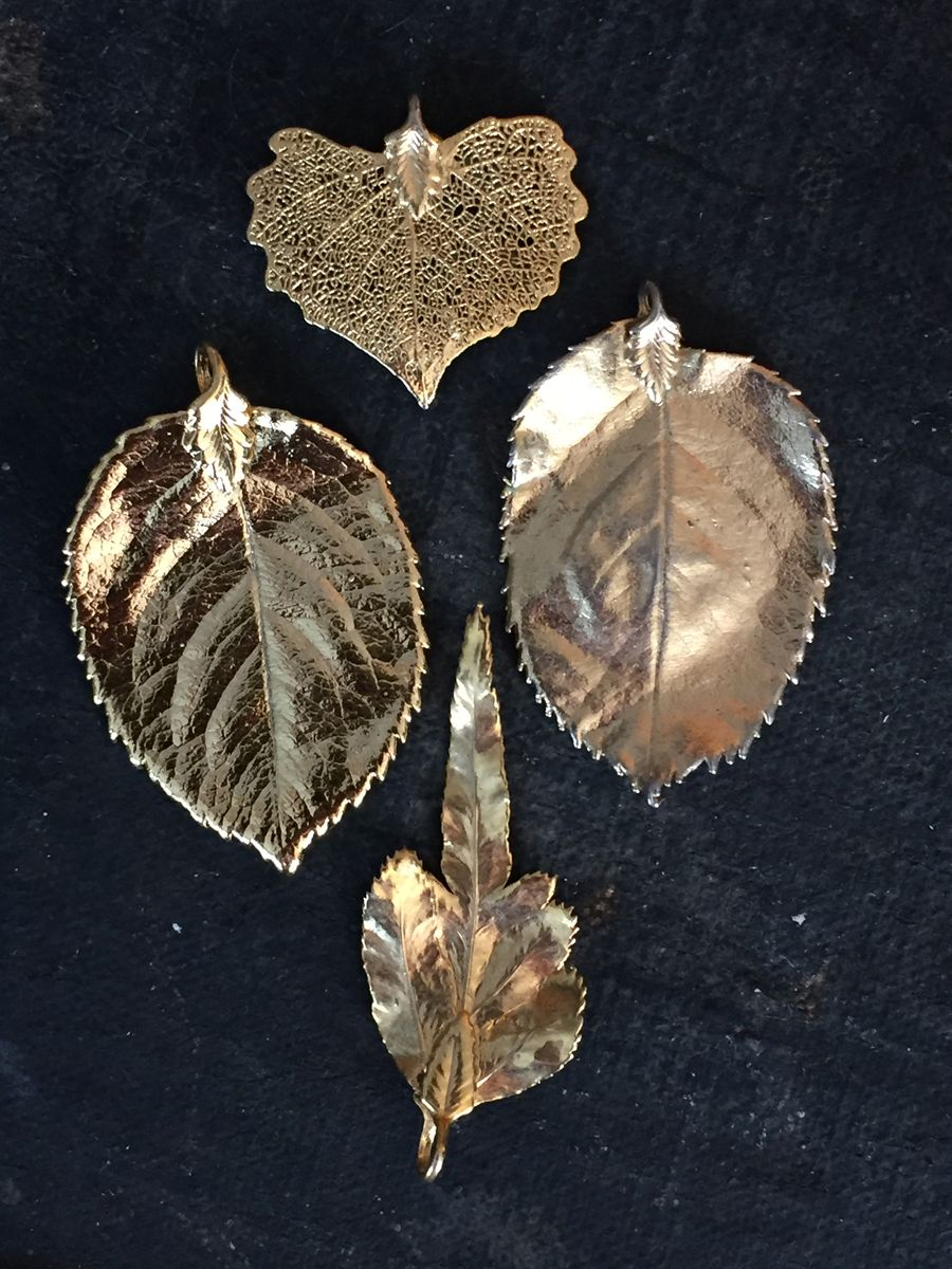 Gold Plated Leaf Pendants Set of Four - product images  of