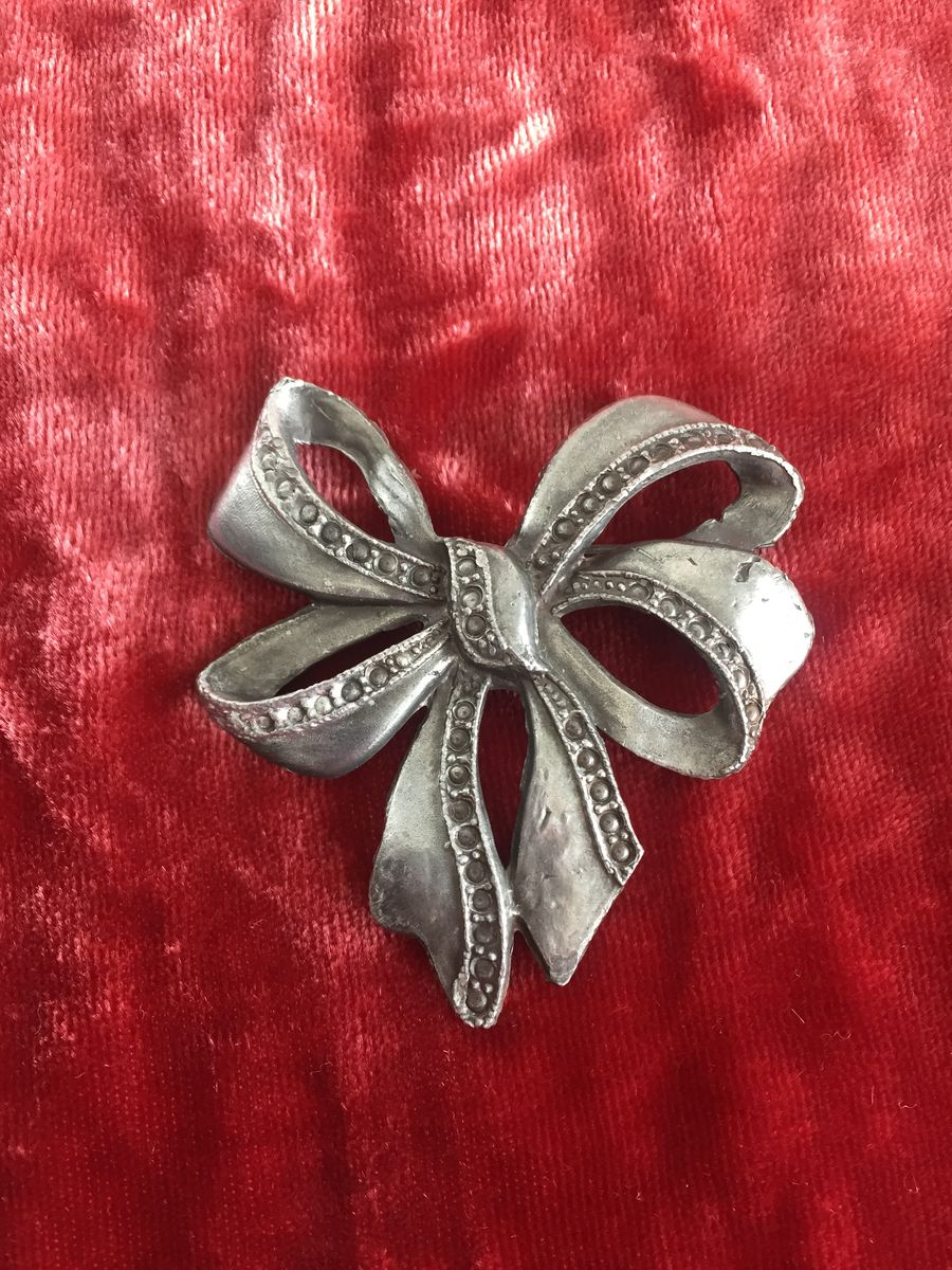 Antique Pewter Bow Brooch  - product image