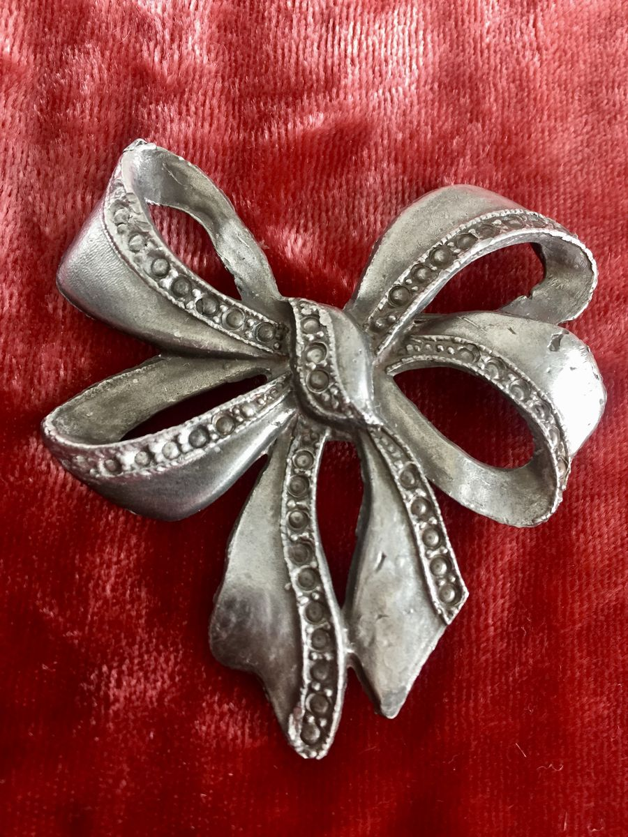 Antique Pewter Bow Brooch  - product images  of