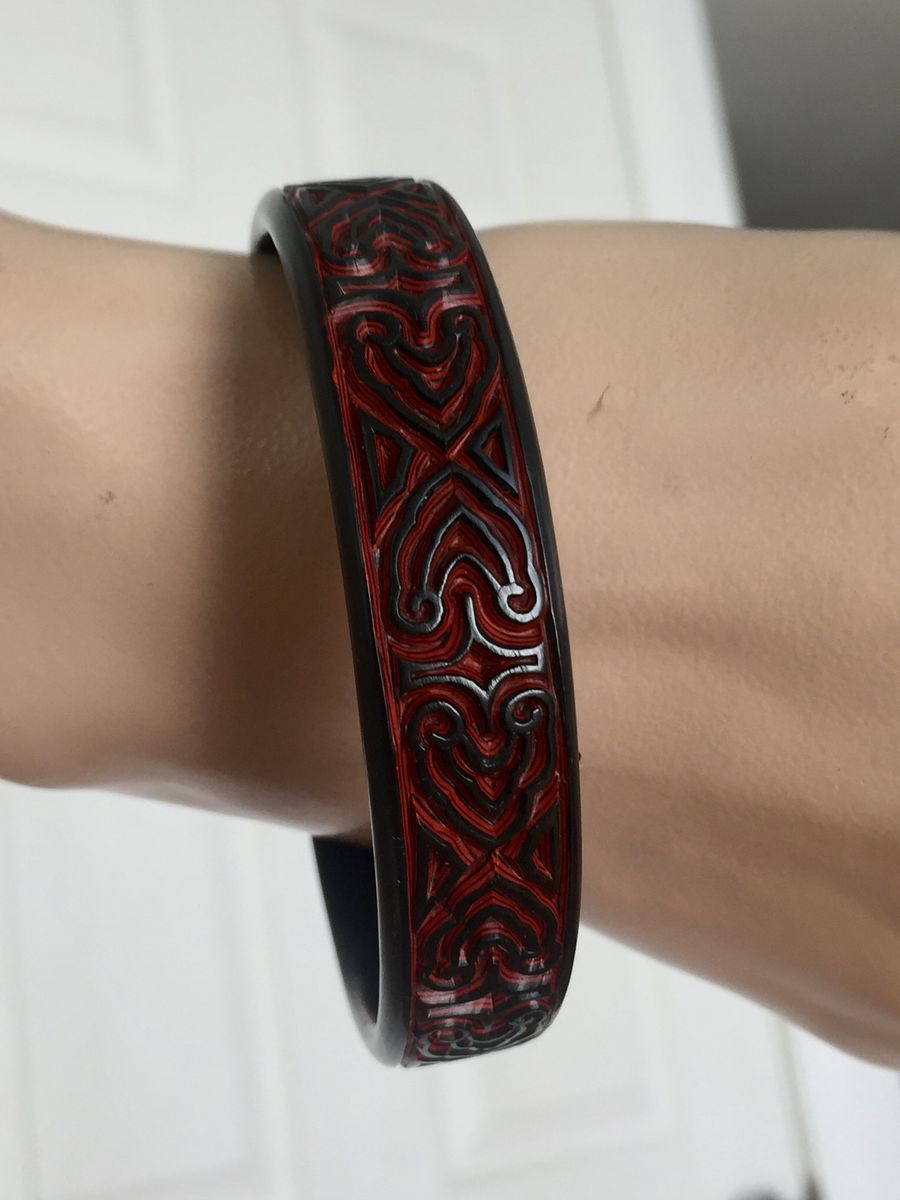 Carved Ebony & Cinnabar Bangle  - product image