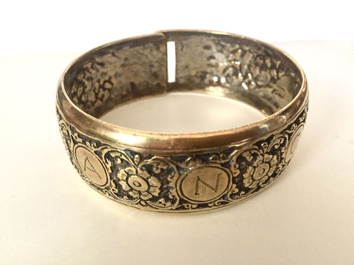 1920's Brass Engraved Bangle with Flowers and Elephants - product images  of