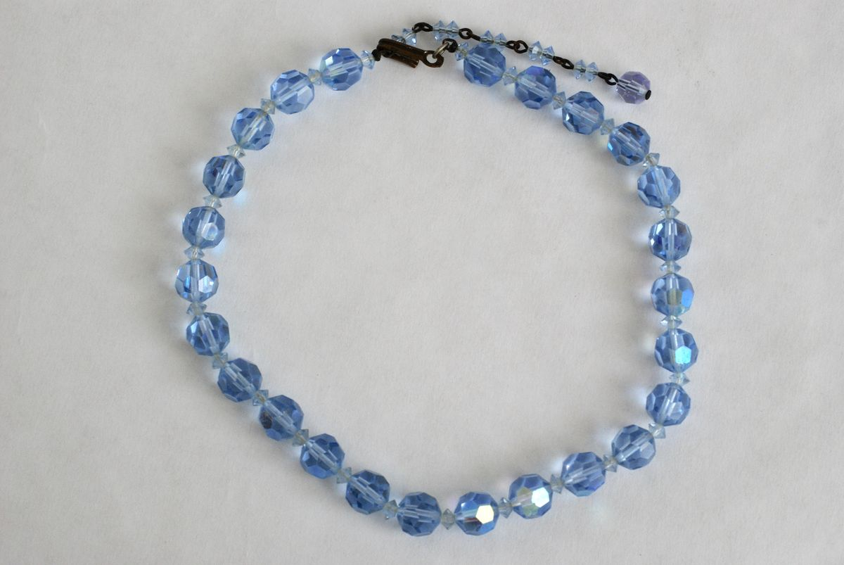 Vintage AB Crystal Choker in Light Blue - product images  of