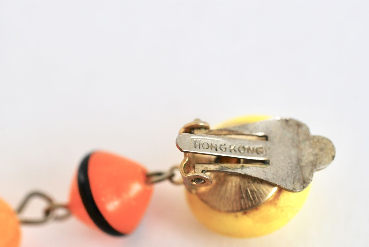 Vintage Mod 1960's Dangle Earrings Yellow and Orange - product images  of