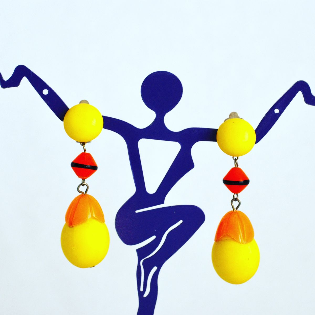 Vintage Mod 1960's Dangle Earrings Yellow and Orange - product image