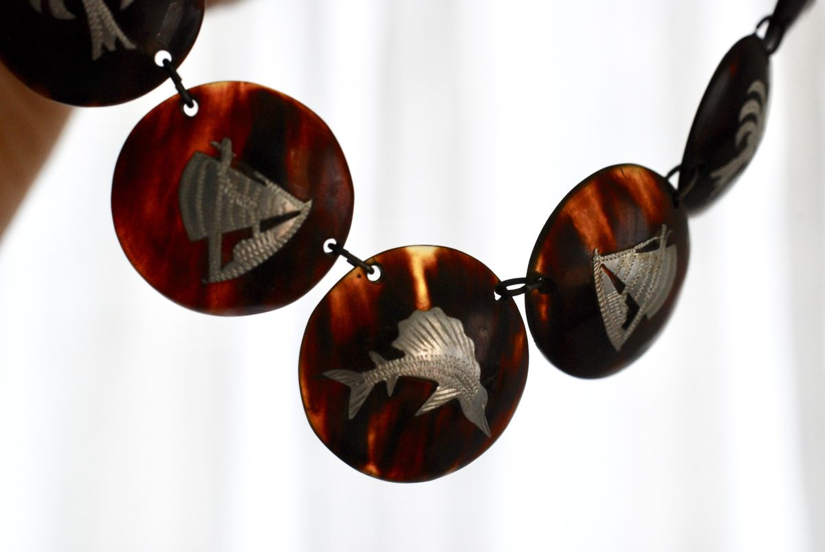 Vintage Faux Tortoise Shell Necklace Pique Silver  - product images  of