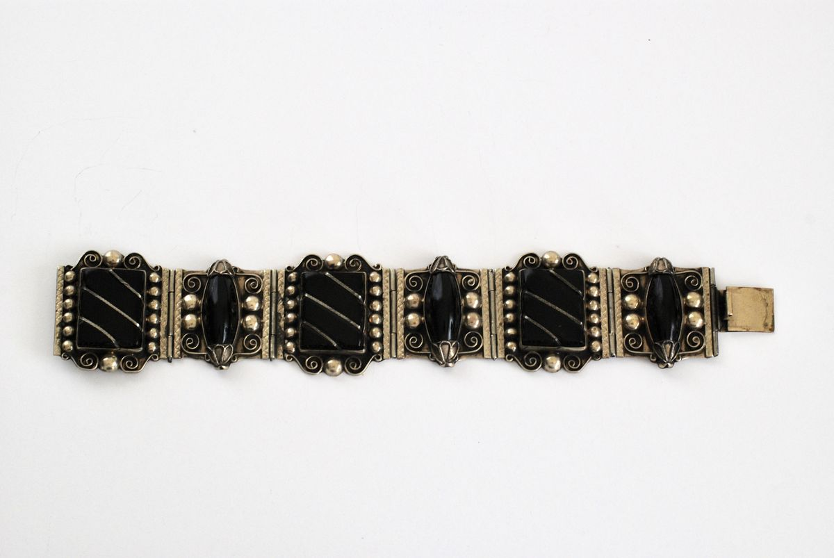 Black Onyx and Silver Mexico Large Panel Bracelet - product image