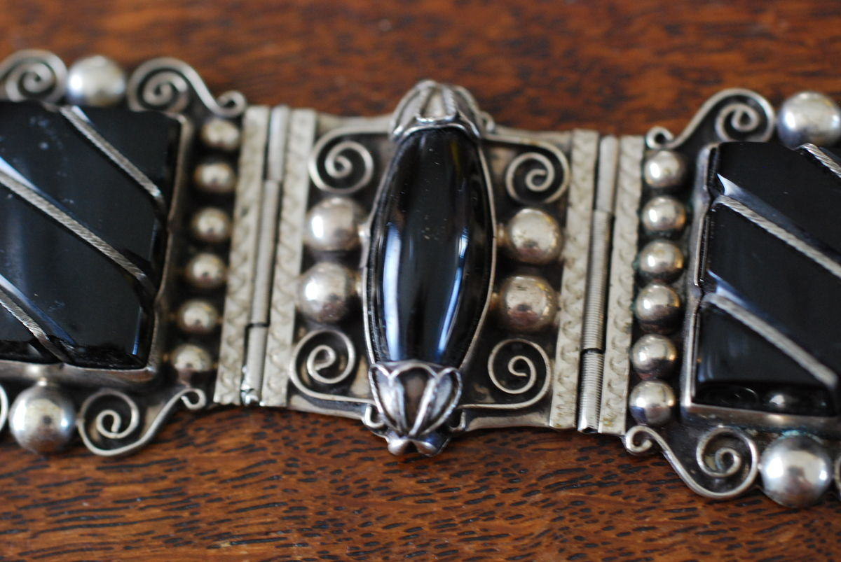 Black Onyx and Silver Mexico Large Panel Bracelet - product images  of