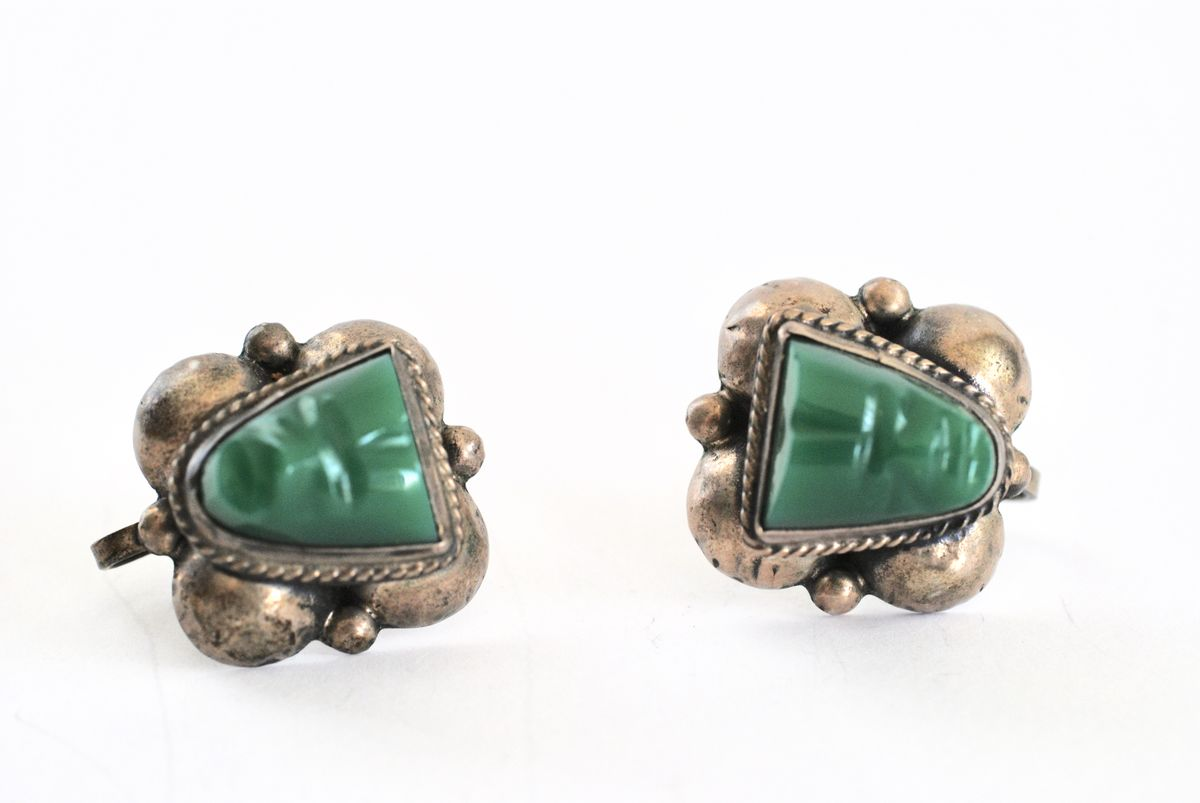 Siver and Green Onyx Warrior Face Earrings Mexico - product image