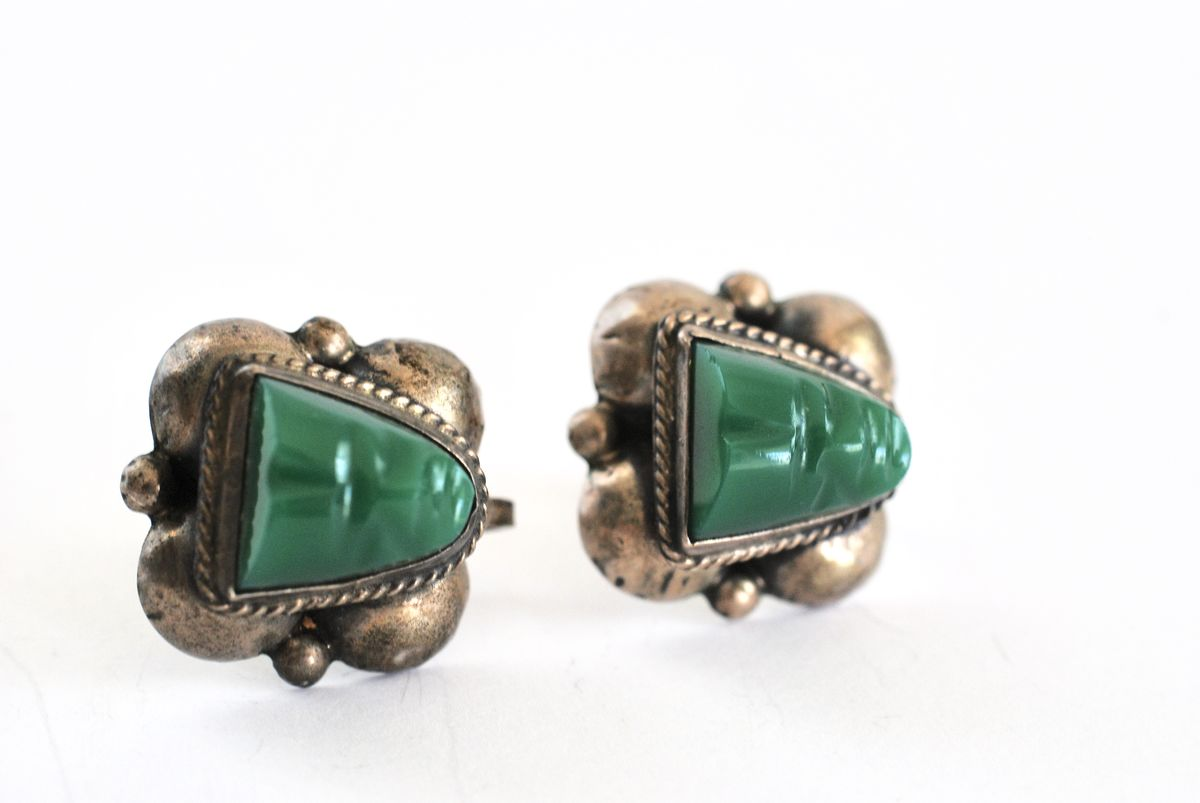 Siver and Green Onyx Warrior Face Earrings Mexico - product images  of