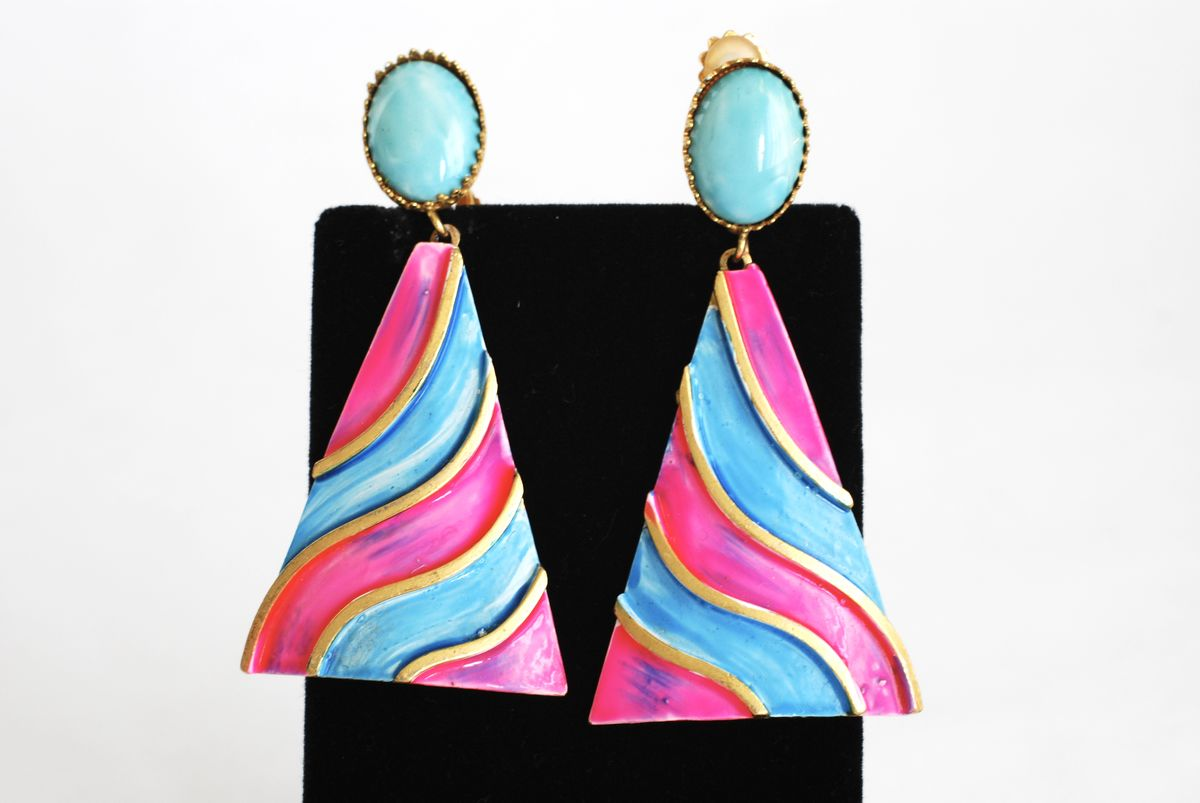 Hot Pink and Sky Blue Vintage Earrings Drop Dangle  - product image