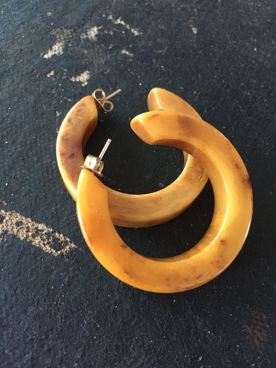 Vintage Bakelite Hoop Pierced Earrings in Marbled Butterscotch  - product images  of