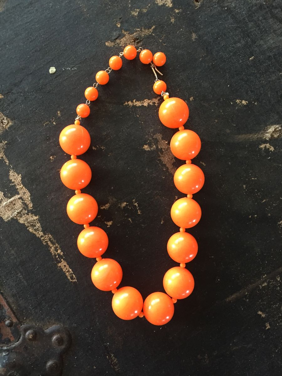 Chunky Bright Orange Vintage Bead Choker - product images  of