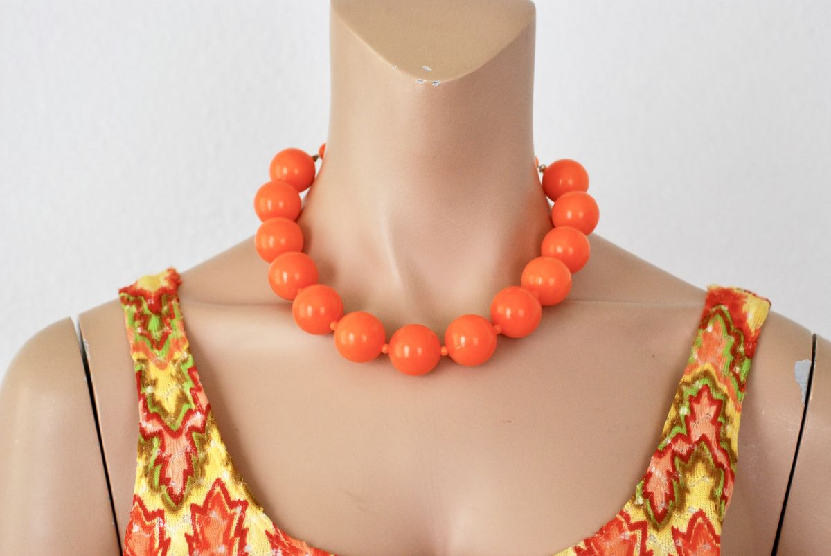 Chunky Bright Orange Vintage Bead Choker - product image