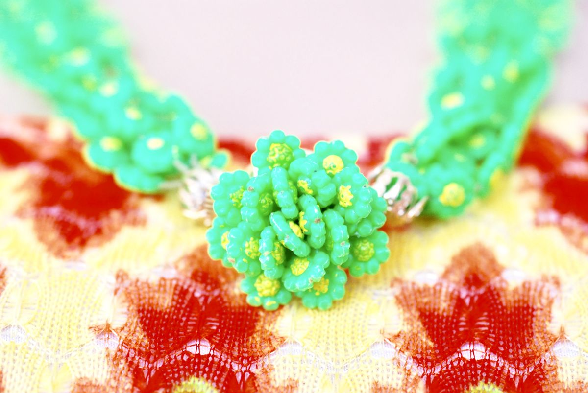 1960's Flower Power Plastic Multi-Strand Daisy Chain Necklace - product images  of