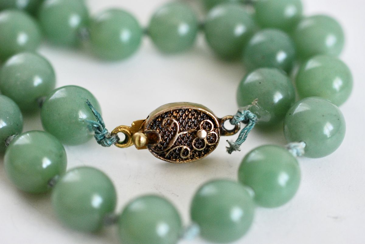 Vintage Jadeite Bead Necklace on Hand Knotted Silk with Gold Plated Clasp - product images  of