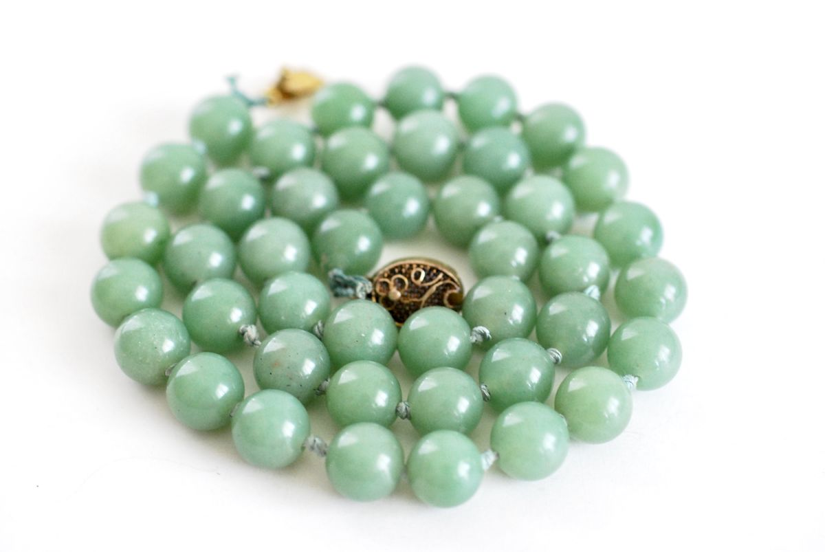 Vintage Jadeite Bead Necklace on Hand Knotted Silk with Gold Plated Clasp - product image