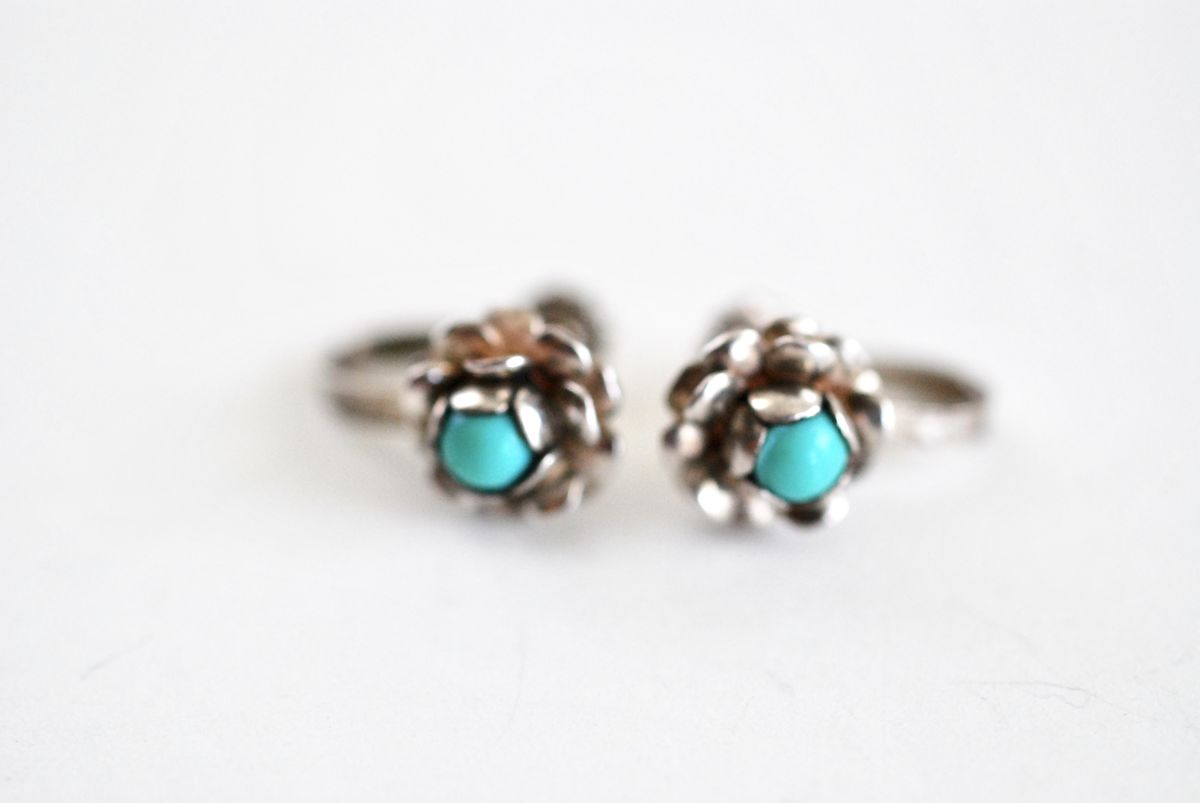 Sterling and Turquoise Tiny Flower Earrings Signed - product images  of
