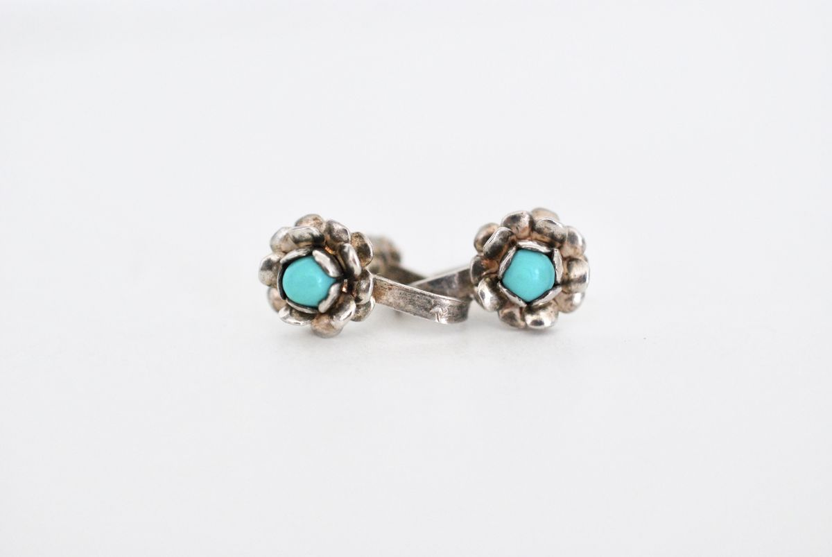 Sterling and Turquoise Tiny Flower Earrings Signed - product image