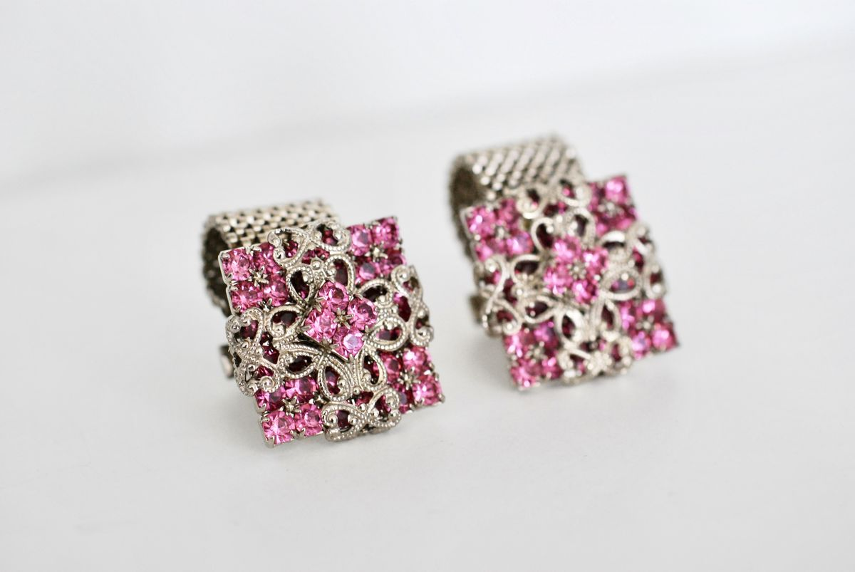Vintage Unisex Cufflinks Pink Rhinestone w/Silver Filigree - product images  of