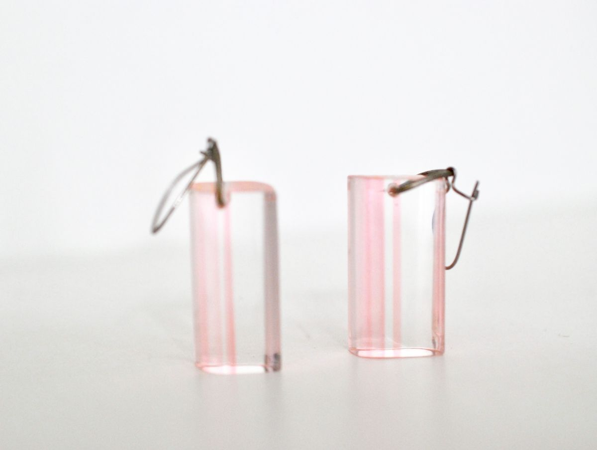Vintage Clear Lucite Striped Dangle Earrings - product image