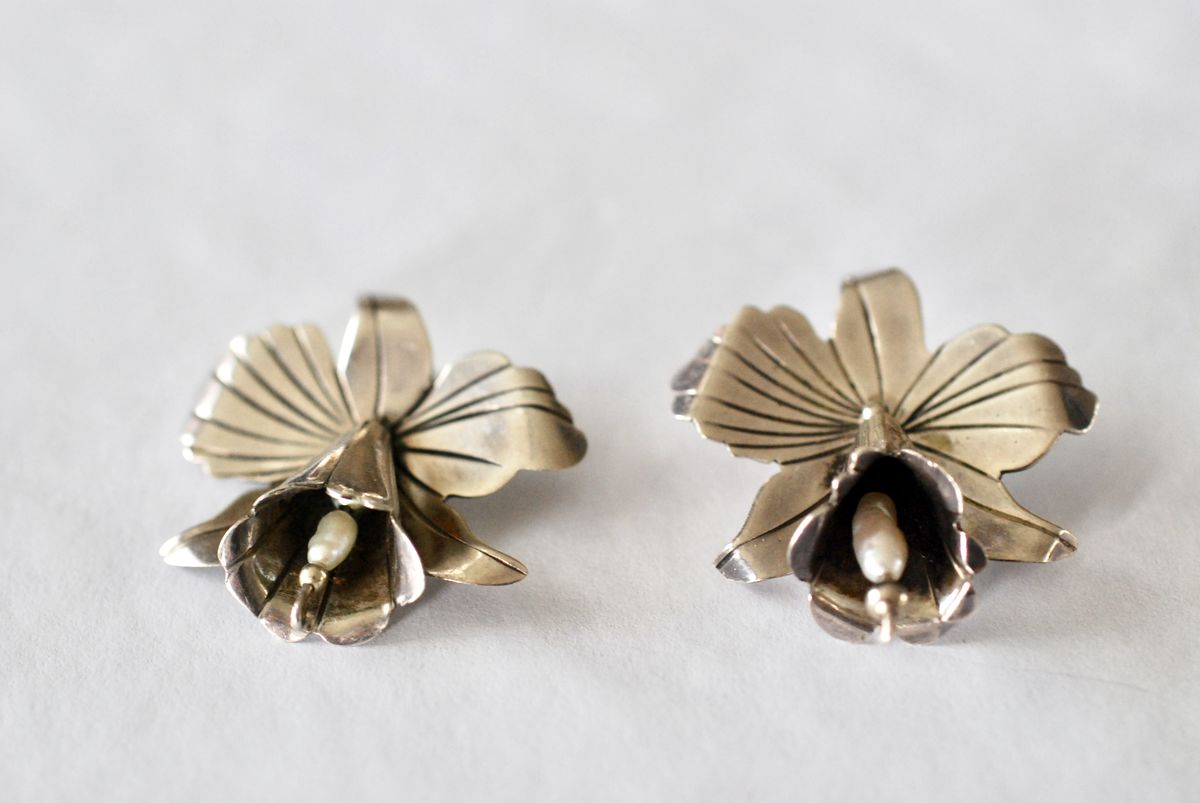 Sterling Silver Orchid Earrings with Baroque Pearls - product images  of