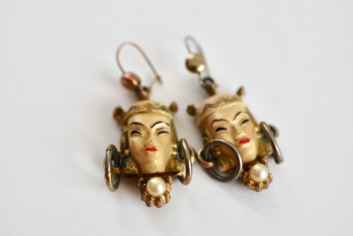 Asian Princess/Thai Girl vintage earrings by Selro - product images  of