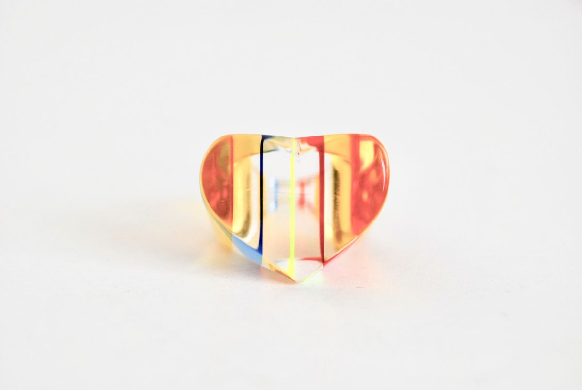 Vintage Lucite Ring Multi Color Heart Shaped - product image