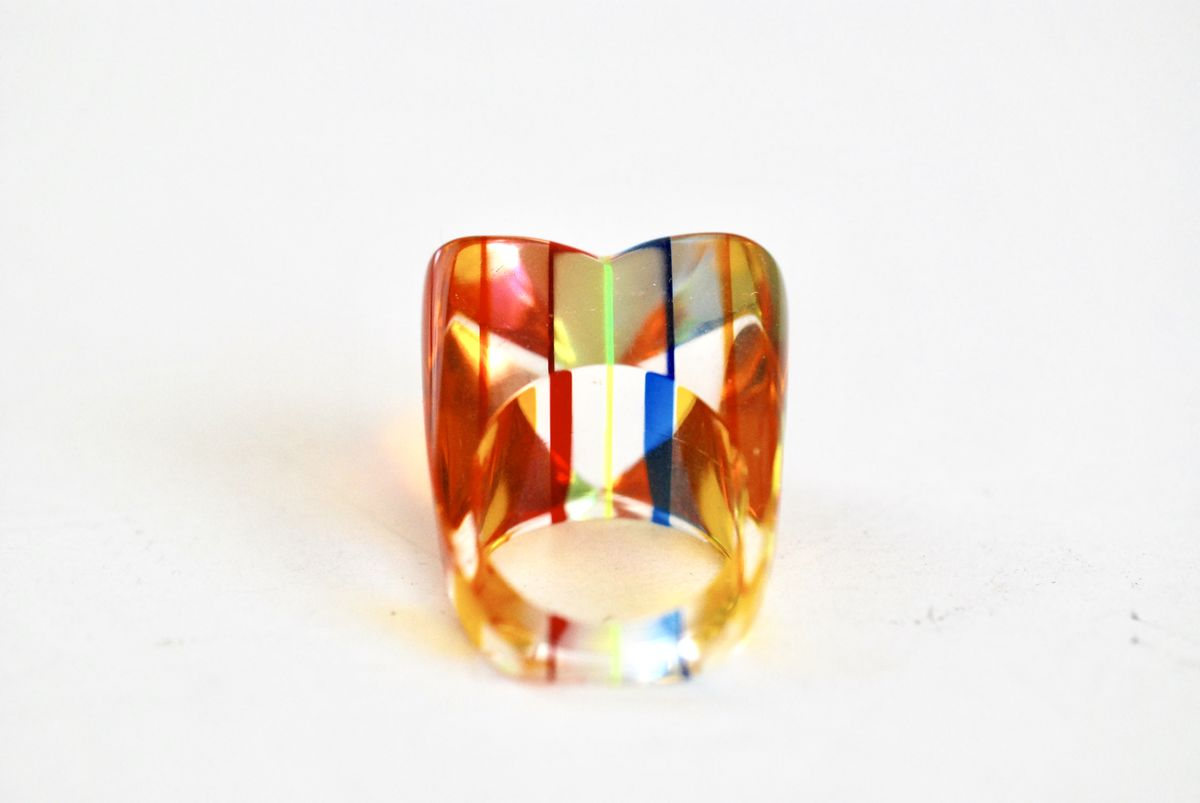 Ring For Her Size 7 12 Ring Red Striped Ring Unique Clear Ring Neon Faceted Lucite Ring Colorful Statement Ring Neon Yellow Lucite
