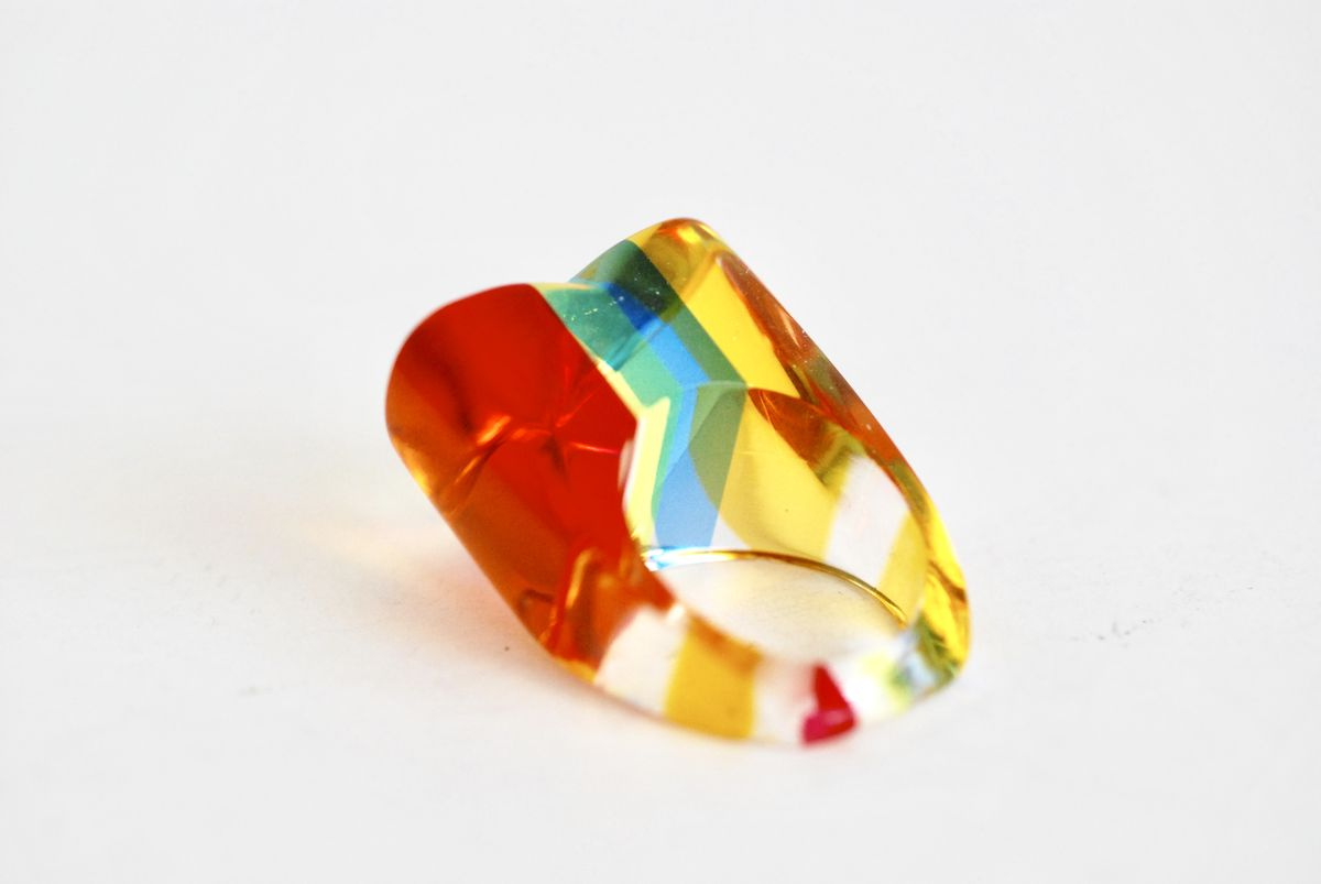 Vintage Lucite Ring Multi Color Heart Shaped - product images  of