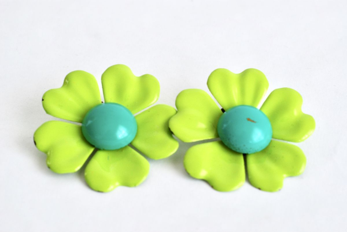 Vintage 1960's Green & Blue Enamel Flower Earrings - product image