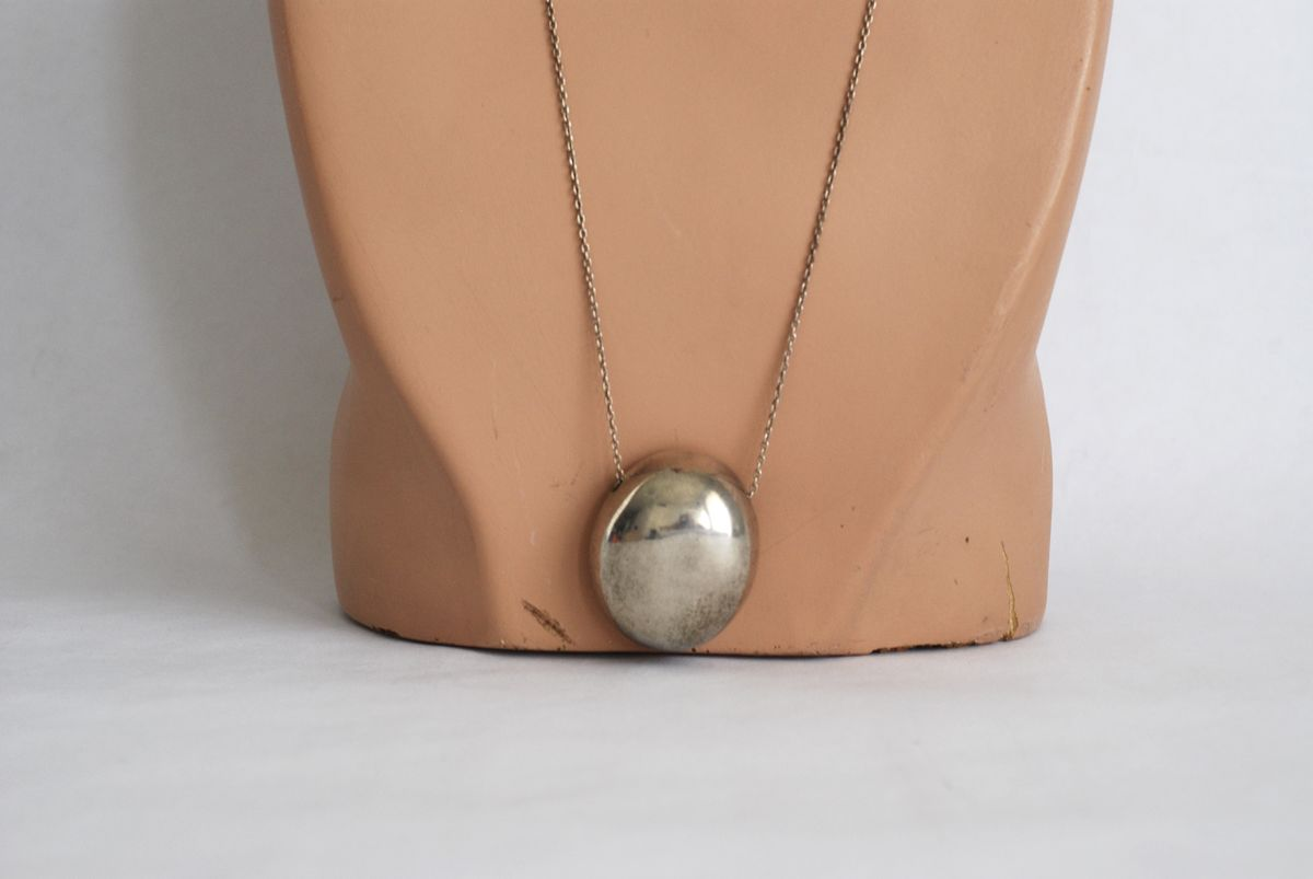 Signed Sterling Silver Modern Pendant on chain - product images  of
