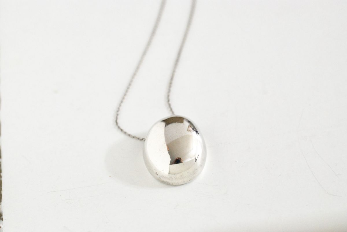 Signed Sterling Silver Modern Pendant on chain - product image