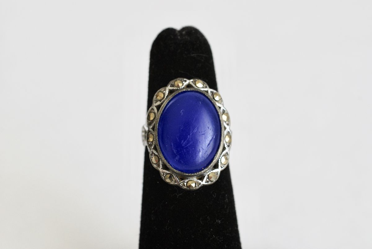 Vintage Blue Glass & Marcasite Ring by Uncas - product images  of