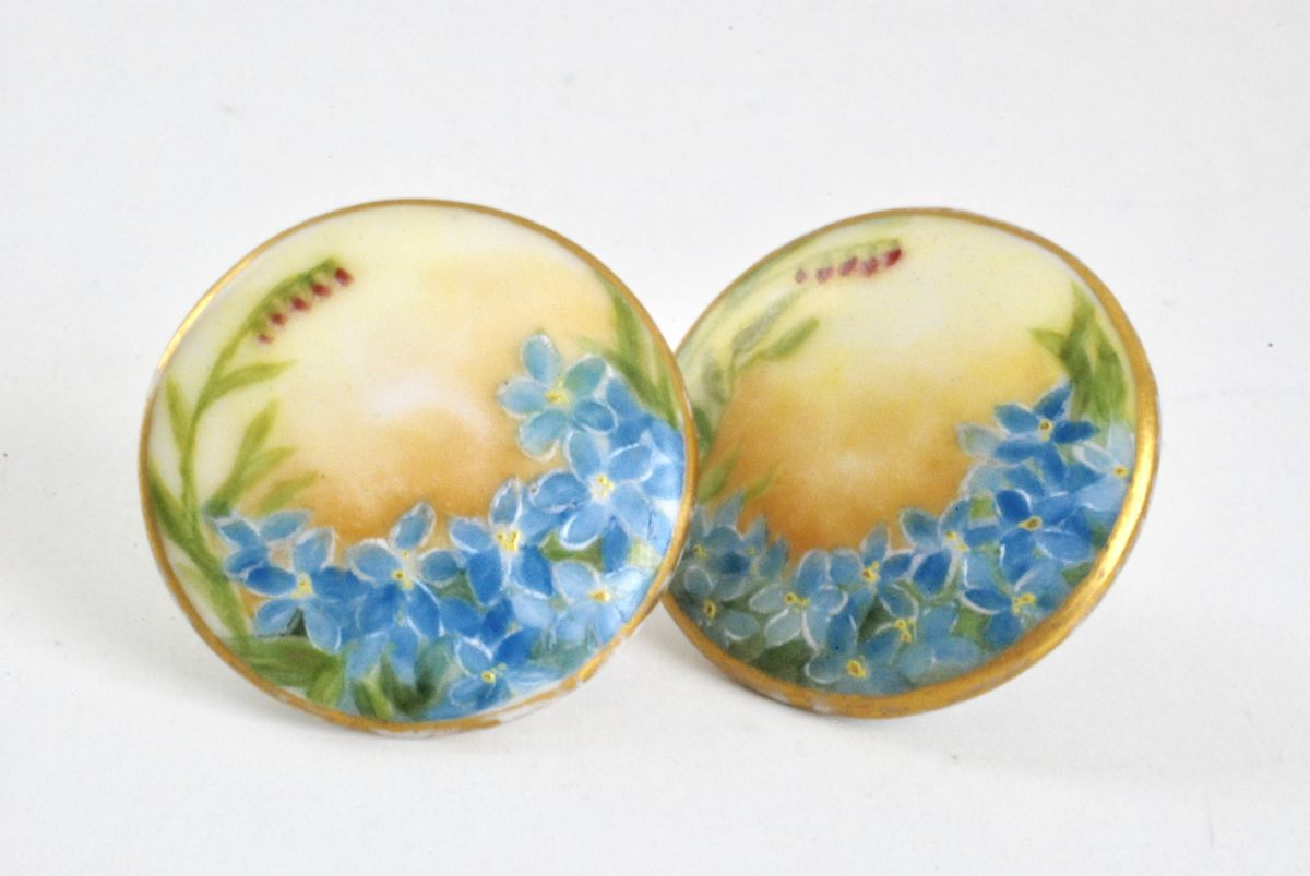 Vintage Porcelain Earrings Hand Painted Forget Me Nots - product image
