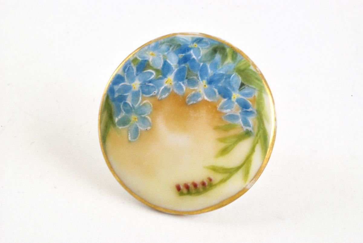 Vintage Porcelain Earrings Hand Painted Forget Me Nots - product images  of