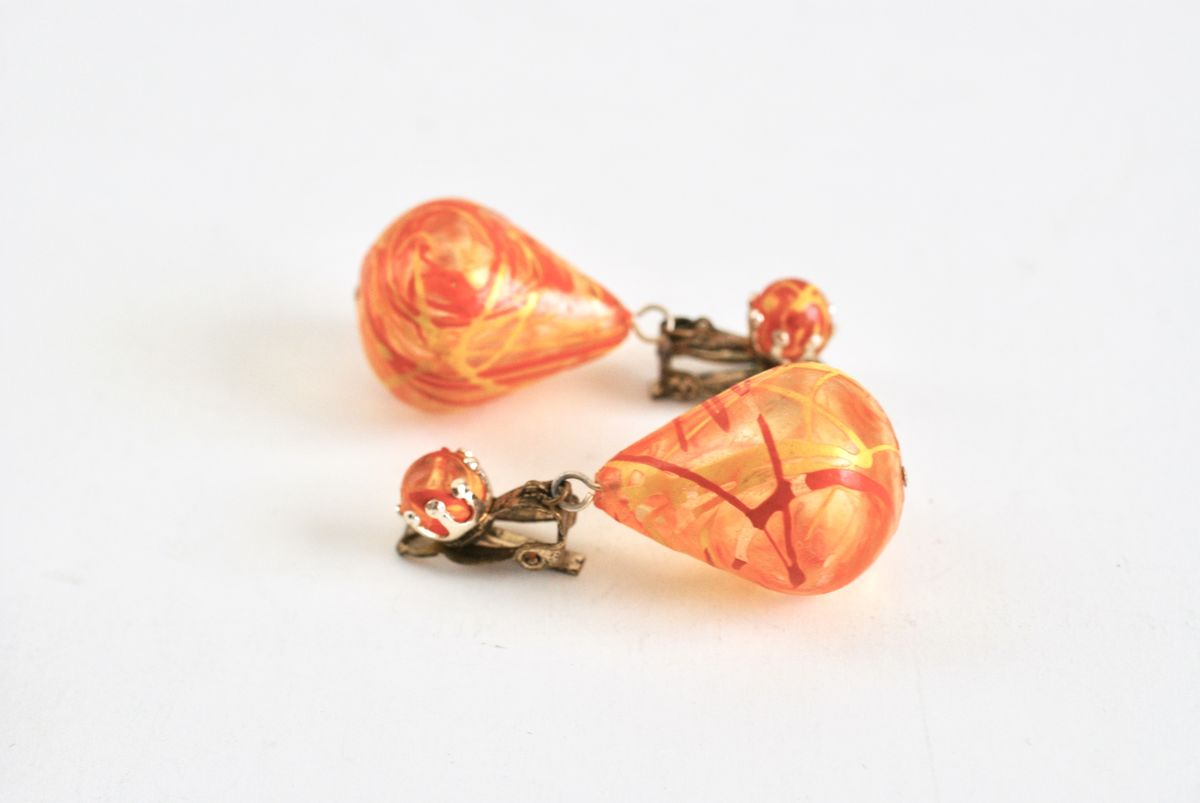 Vintage Hippie Boho Drop Earrings in Orange & Yellow - product images  of