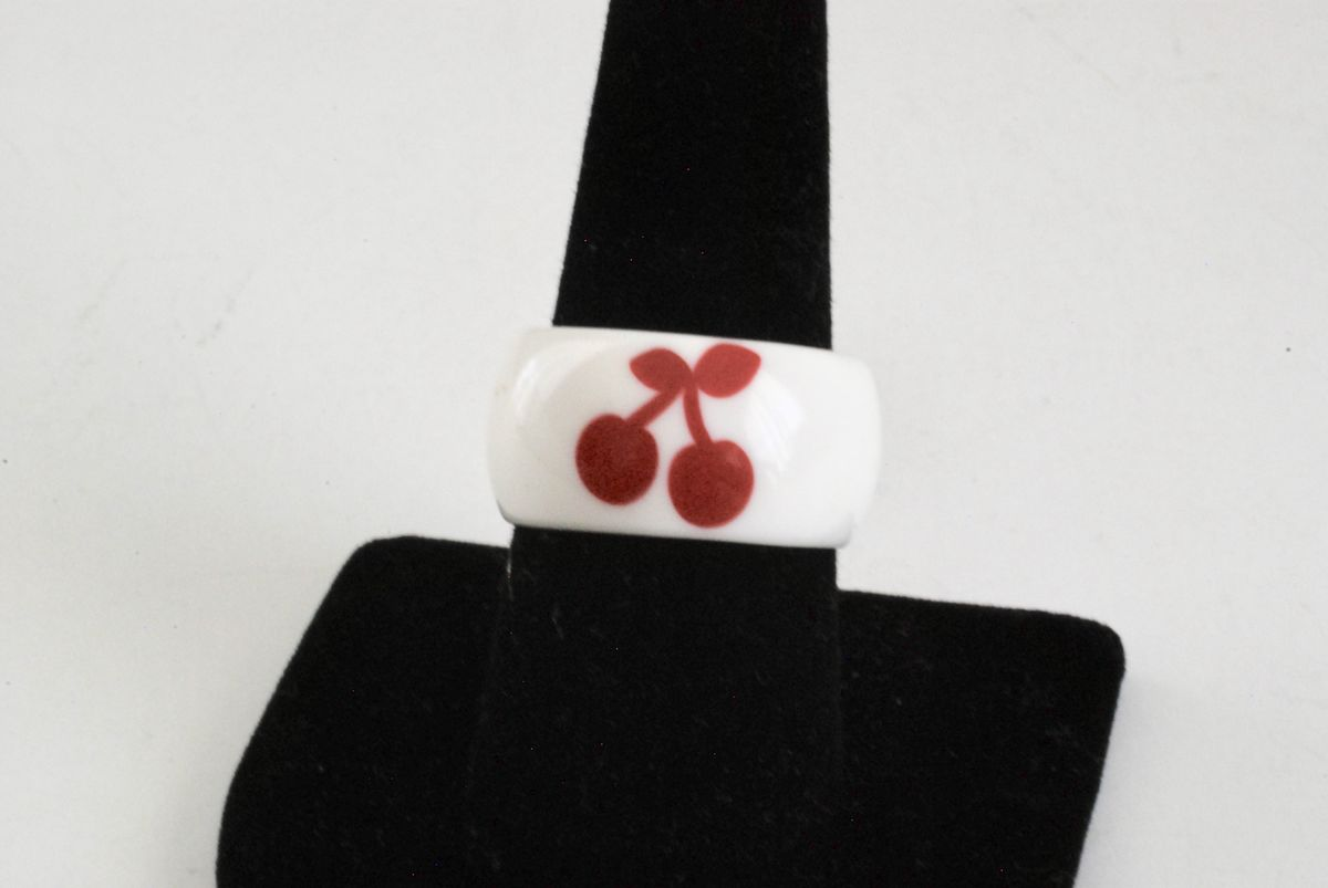 Vintage Plastic Ring Wide Band White with Red Cherries - product image
