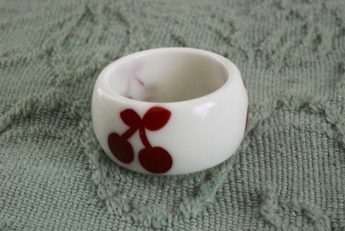 Vintage Plastic Ring Wide Band White with Red Cherries - product images  of