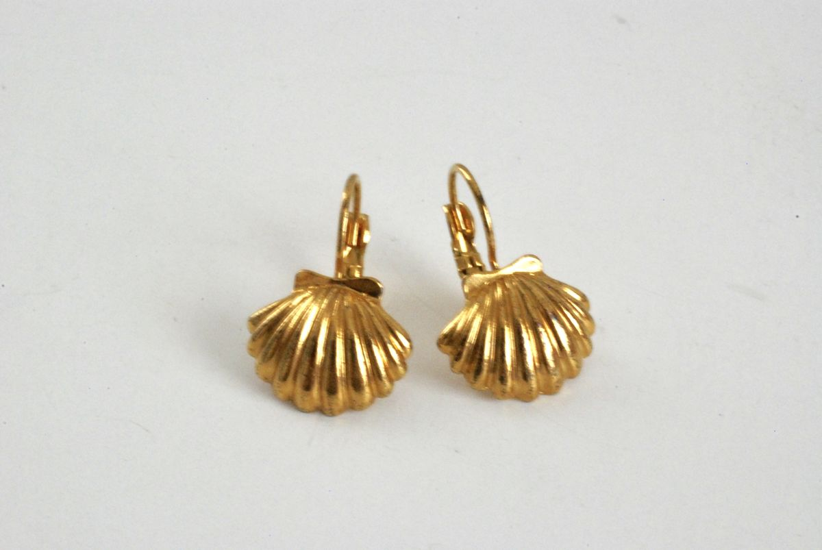 Gold Tone Scallop Shell Lever Back Earrings - product images  of