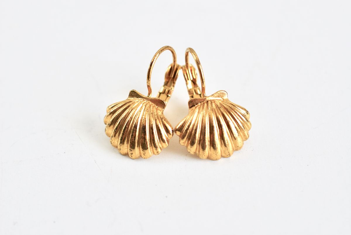 Gold Tone Scallop Shell Lever Back Earrings - product image