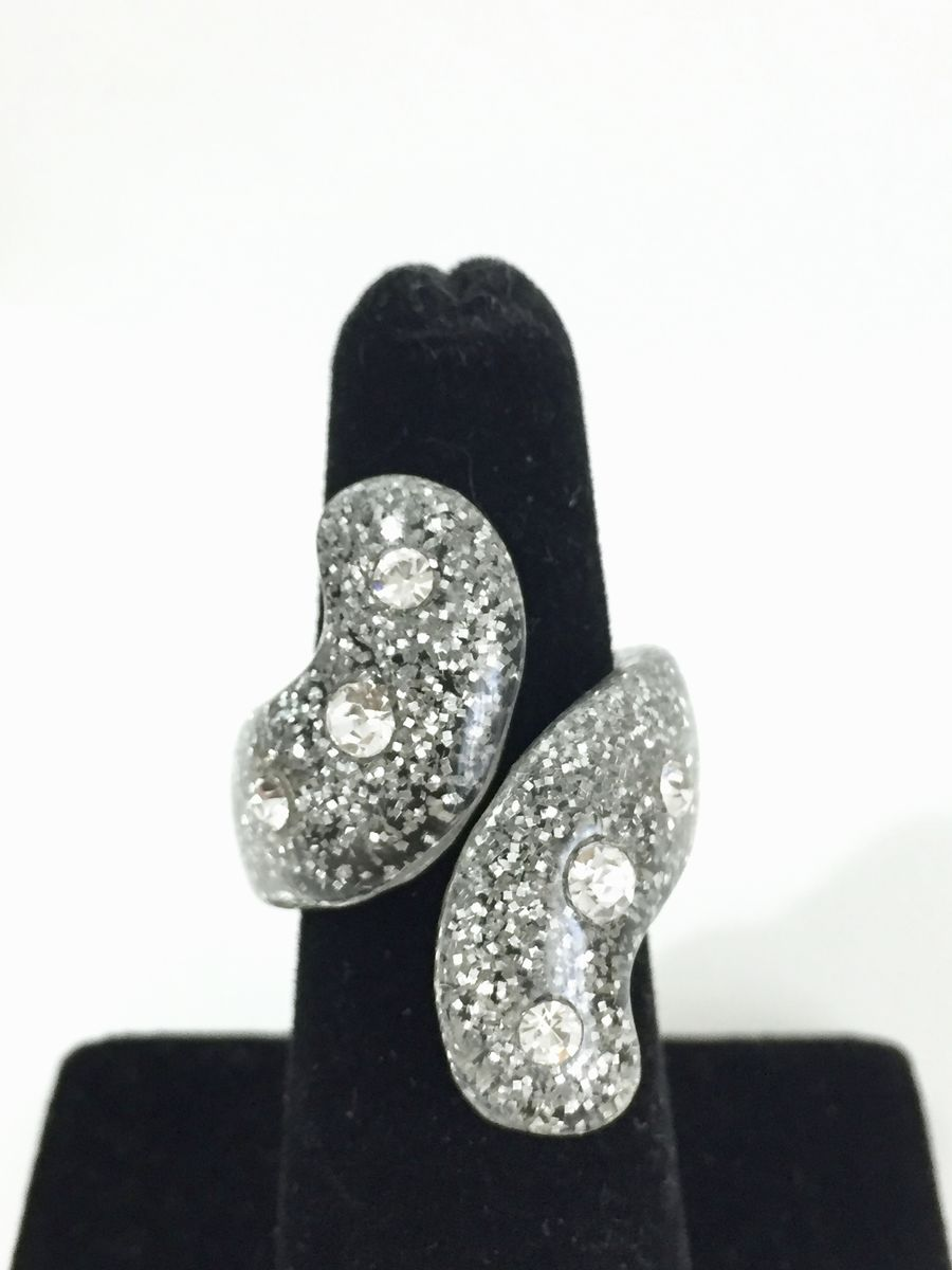 Bling Bling Glitter and Rhinestone Lucite Ring - product image