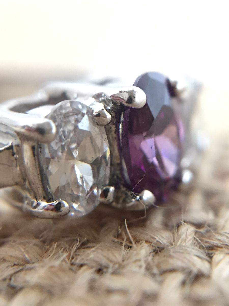 Three Stone Amethyst and Cubic Zirconia Ring - product images  of
