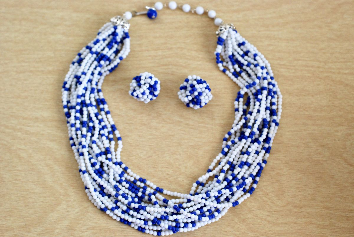 Vintage 1960's Blue and White Beaded Multi Strand Necklace with Matching Earrings - product image
