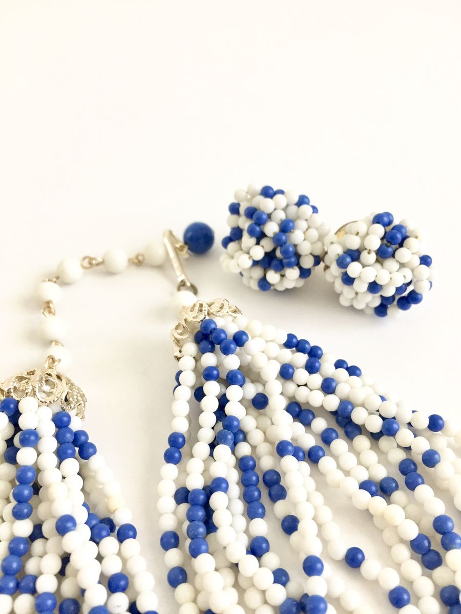 Vintage 1960's Blue and White Beaded Multi Strand Necklace with Matching Earrings - product images  of