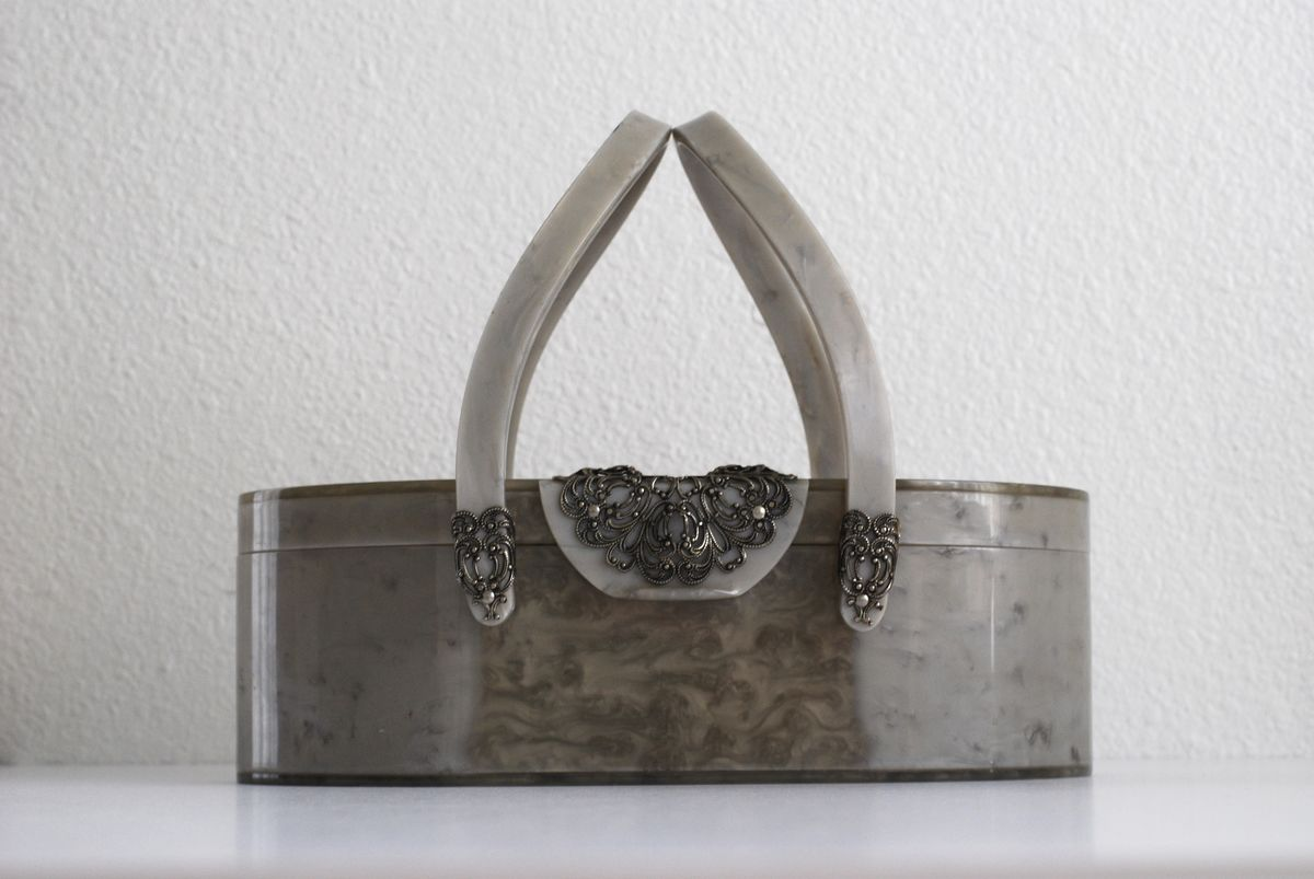 Vintage Lucite Purse Silver Swirl with Filigree Detail by Wilardy - product image