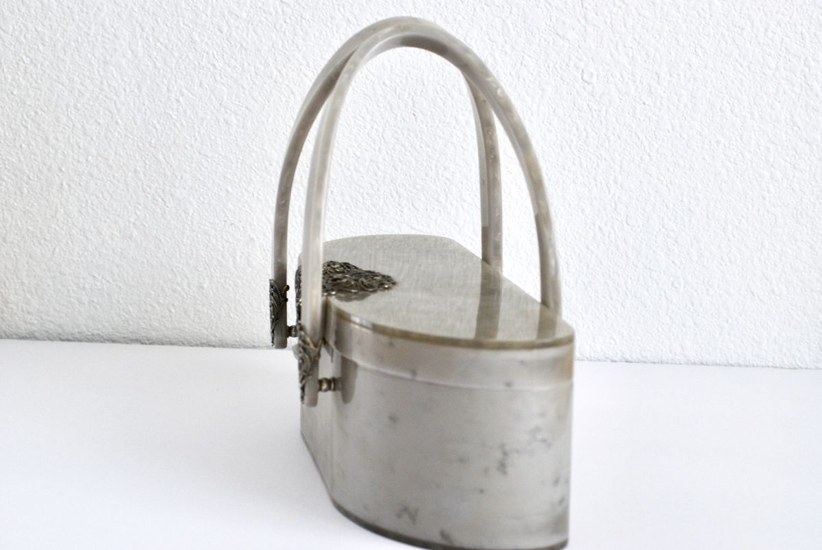 Vintage Lucite Purse Silver Swirl with Filigree Detail by Wilardy - product images  of