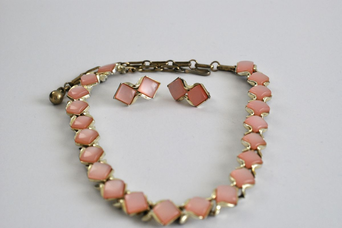 Coro Pink Thermoset Moonglow Choker and Earrings - product images  of