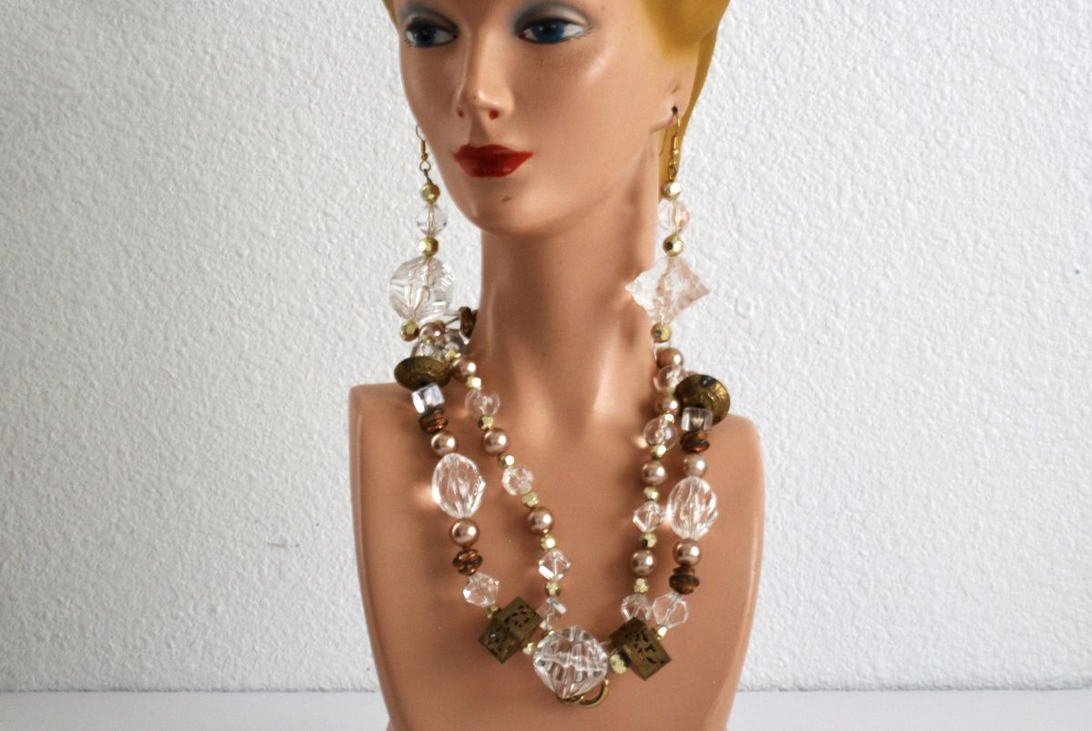 Long Boho Style Necklace and Earrings in Clear, Brass, and Pearls - product image