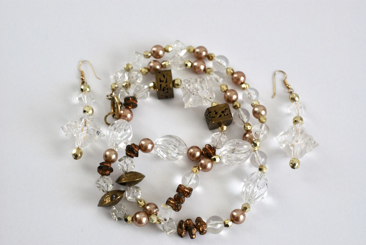 Long Boho Style Necklace and Earrings in Clear, Brass, and Pearls - product images  of